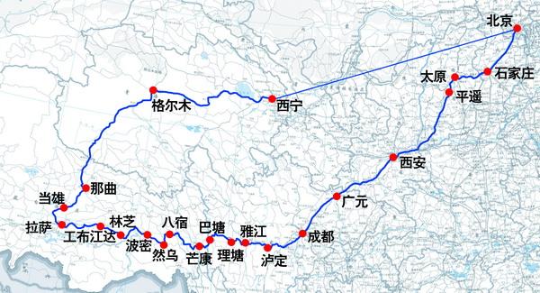 成都到西藏地图