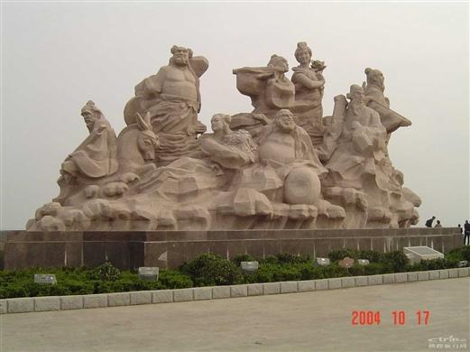 蓬莱阁之八仙过海雕塑