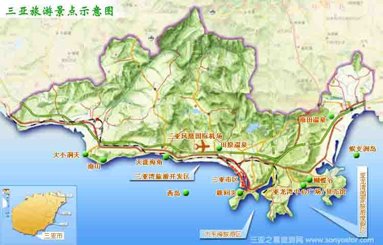 三亚地图旅游景点距离