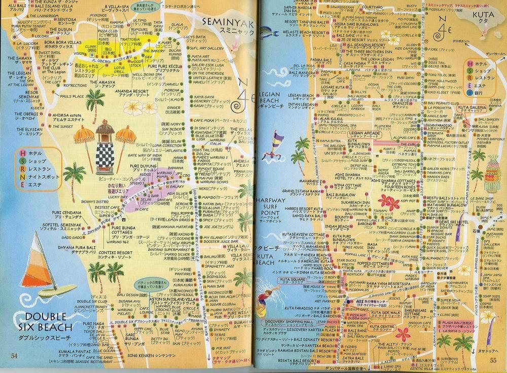 巴厘岛手绘地图