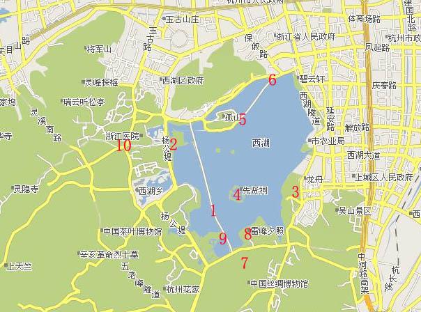 (西湖十景分布); 杭州西湖地图;