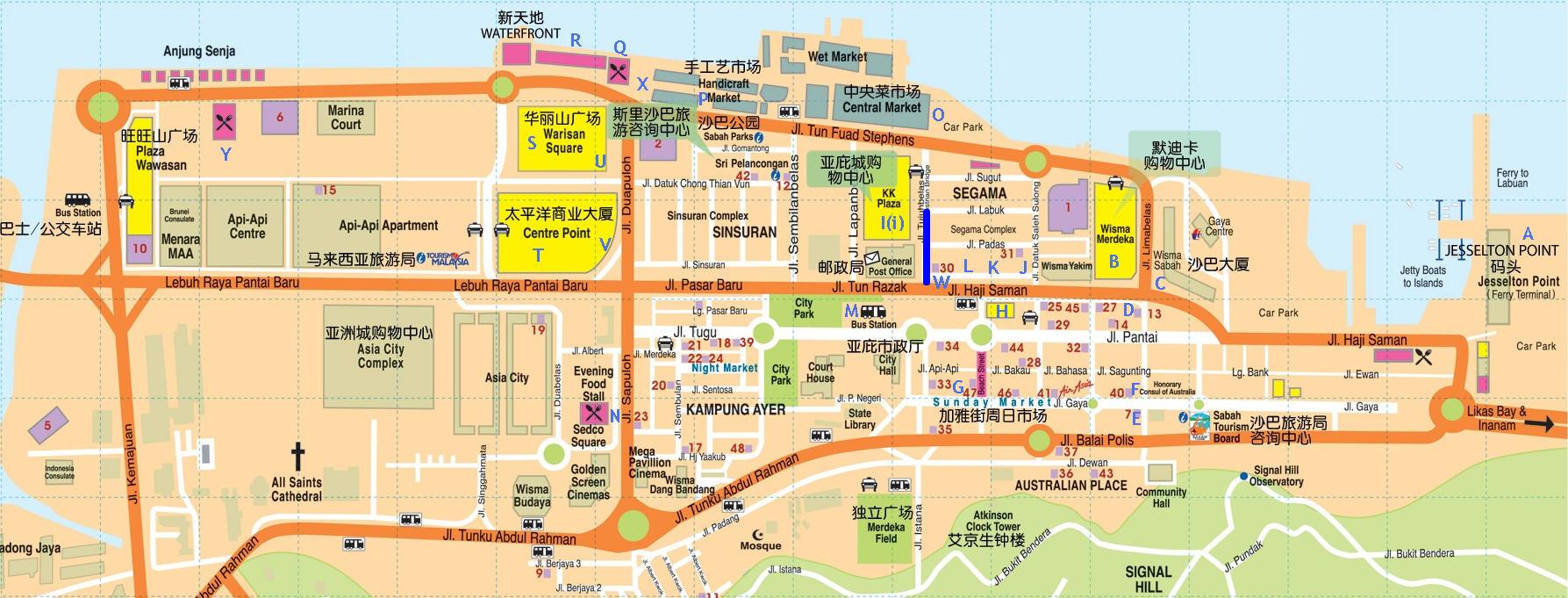 沙巴市区中英文地图,附美食和购物点攻略)