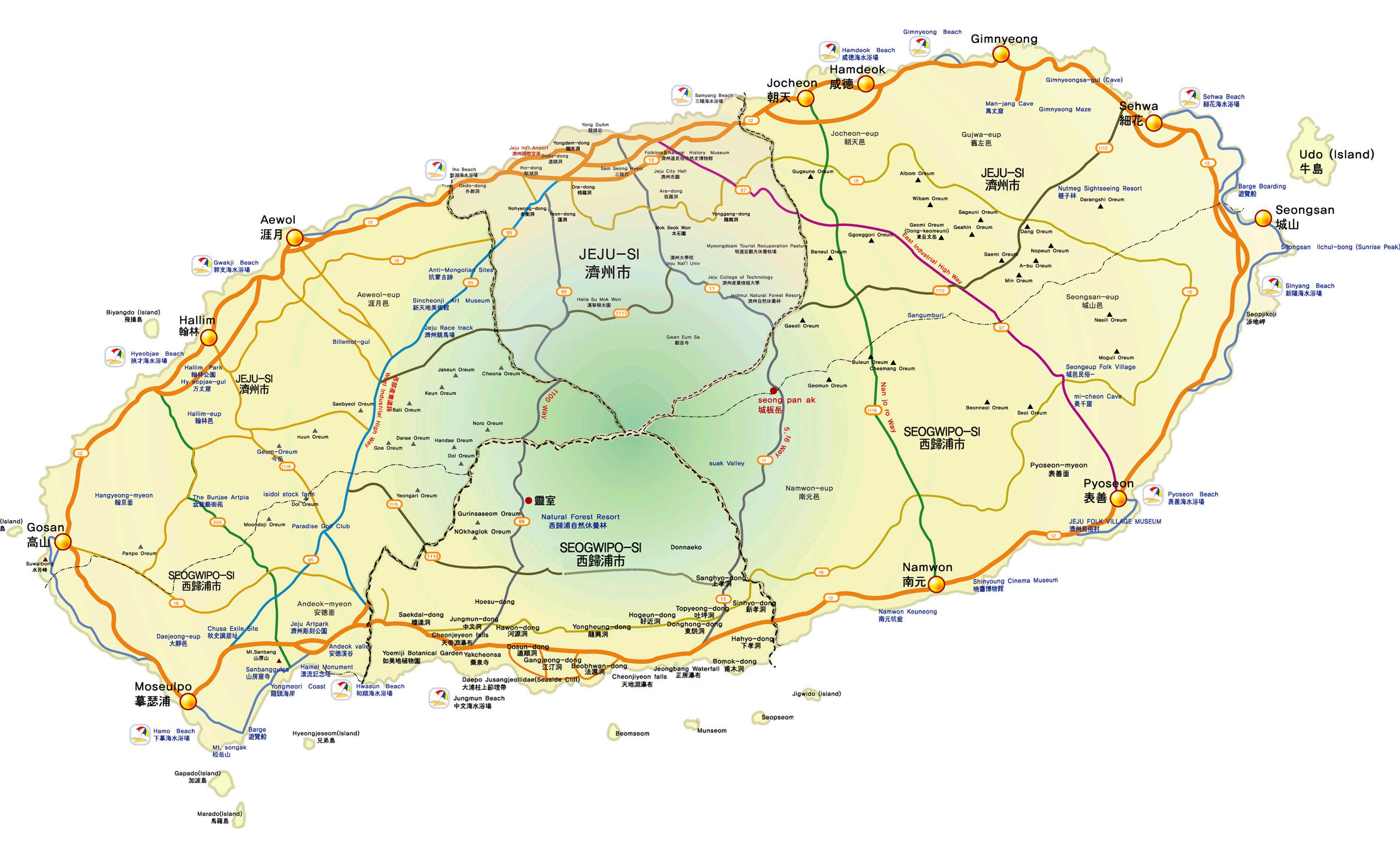(我自己拼的济州岛粗略地图,是我在国内找到的最清楚的版本了)