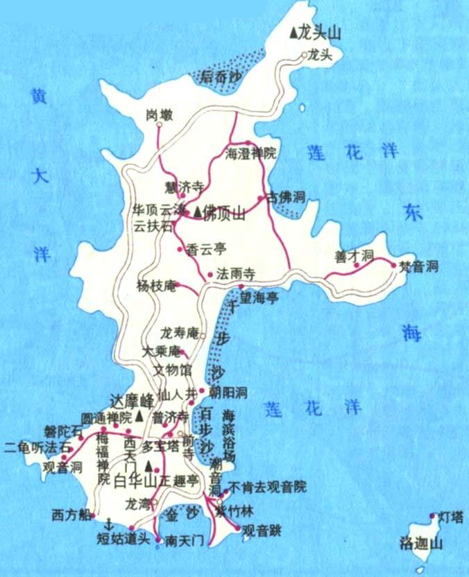 (普陀山简易地图)